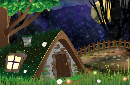 moonshine: Shack with luminous window and sod roof in a dark forest Illustration