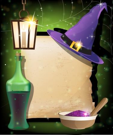 Heksenhoed, lantaarn, een fles drank, mortel met poeder en oud manuscript op een fonkelende achtergrond Magic accessoires Vector Illustratie