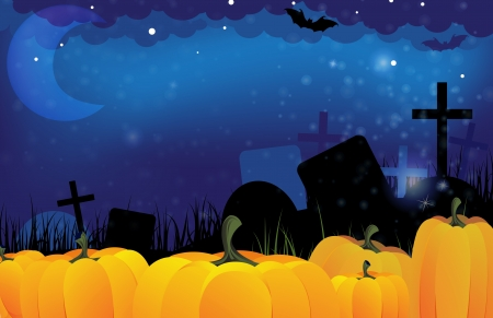 Ripe pumpkins on a terrible night cemetery   Vector