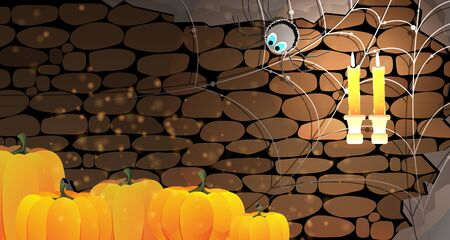 Halloween pumpkins in a stone dungeon with cobweb, spider and burning candles Vector