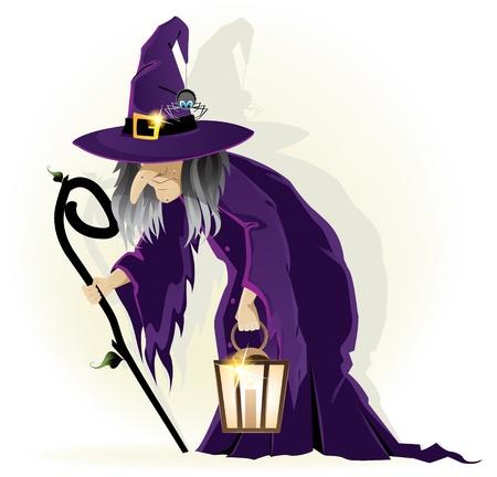 wiedźma: Scary stara wiedźma z latarnią na białym tle znaku Cartoon Halloween
