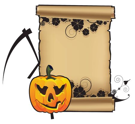 Pumpkin with a scythe on the background of the parchment scroll Stock Vector - 15094977