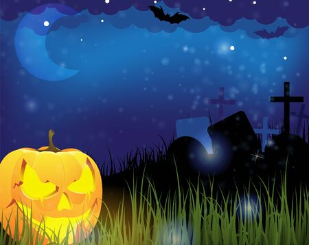 Grinning pumpkin head on a night cemetery  Abstract Halloween  background Stock Vector - 15094988