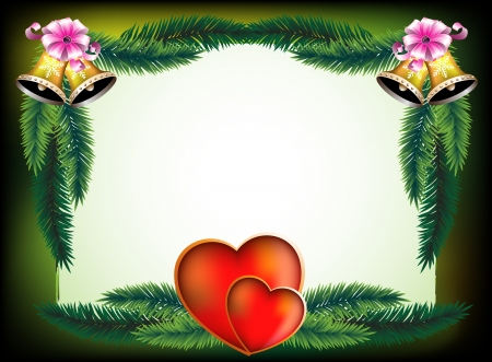 Hearts, bells and bows on  background with pine branches Vector
