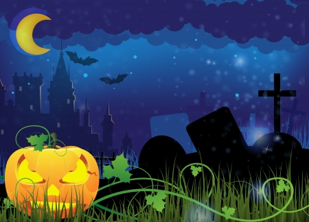 Grinning Jack o lantern on a night cemetery  Abstract Halloween  background Vector