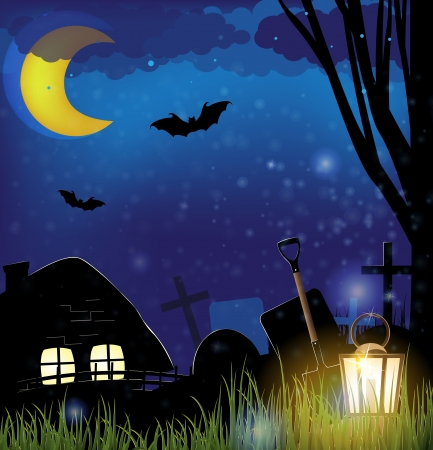 dugout: Small house near a cemetery  Scary night background  Illustration
