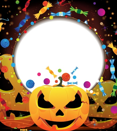 Three smiling pumpkin heads and fireworks with confetti and candy  Abstract Halloween background  Vector