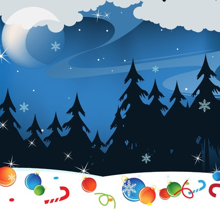 Christmas decorations lost in a snowy forest Vector