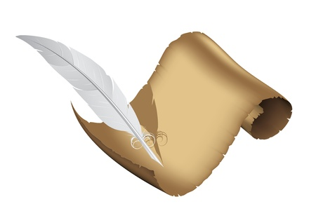 Ancient parchment and white feather  Stock Vector - 15688153