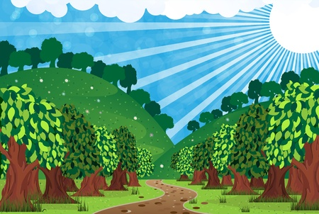 Trees with lush foliage and winding footpath. Sunny rural landscape Stock Vector - 15688177