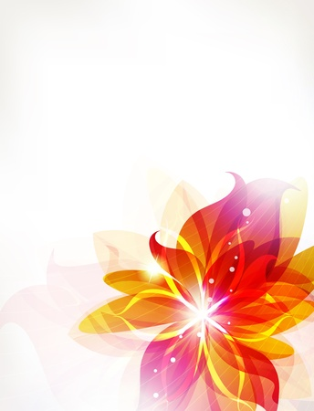 Glowing orange flower on a white background. Abstract floral card.