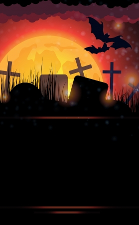 Night cemetery and bats on the moon background. Abstract Halloween landscape. Stock Vector - 15688167