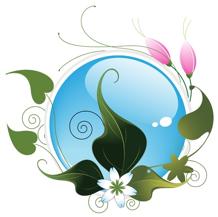Blue aqua button and bright floral pattern. Environment symbol Vector