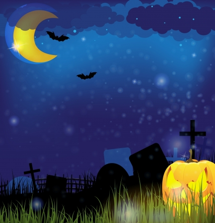 Terrible pumpkin head with glowing eyes on a night Cemetery Stock Vector - 15688158