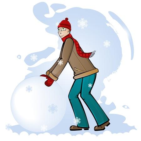 Boy makes a snowball for a snowman Vector