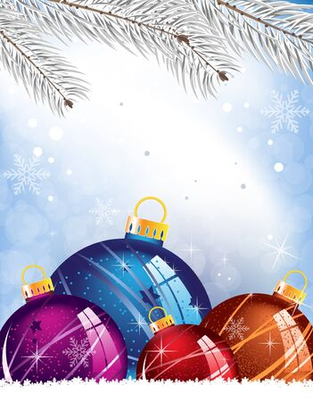 Christmas decorations and spruce branches on a snowy blue background Stock Vector - 15688172