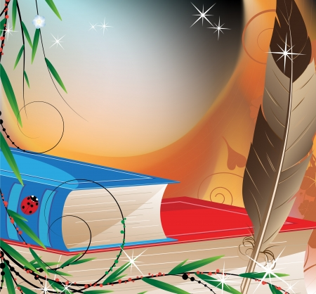 Quill pen and book in hardcover  Magic background Vector