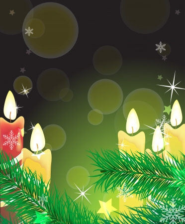 advent candles: Burning candles, branches of spruce on a festive shimmering background