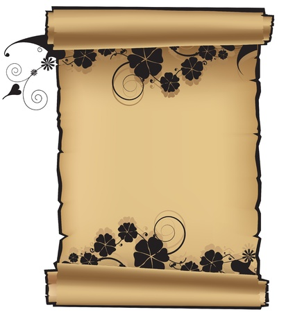 Ancient scroll with an abstract floral pattern Stock Vector - 15922664