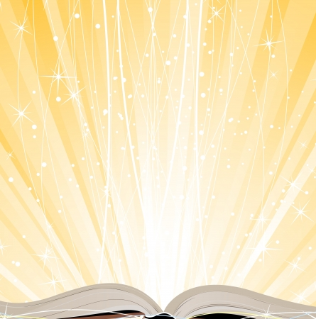 Open hardcover book on a shining yellow background