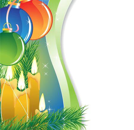 Christmas balls and candles Stock Vector - 15922668