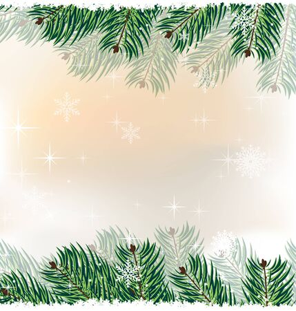 christmass: spruce branches on the sparkling snow-covered background Illustration