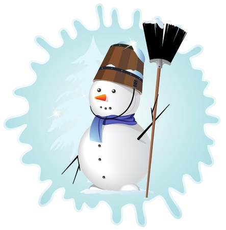 Snow man with a broom