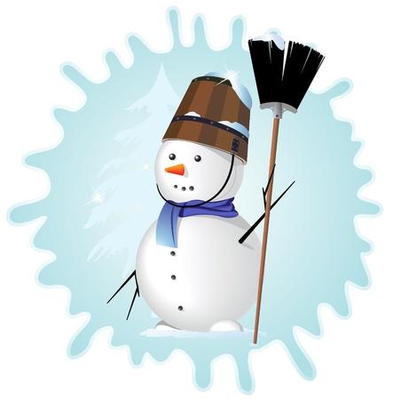 snowbank: Snow man with a broom