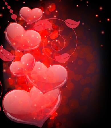 Transparent hearts and ñurled  floral elements  Valentine Illustration
