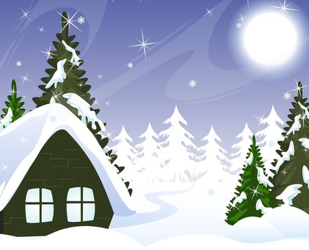 Hut of the woodcutter in a snowy forest  Winter Landscape  Vector