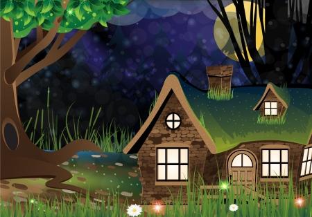 怖い暗い森の中で火をつけられた窓の孤独な家