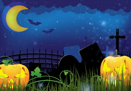 Two grinning Jack o Lanterns on a night cemetery  Abstract Halloween  background Stock Vector - 15922600