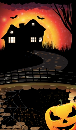 House with lighted windows  on a moon background and scary Jack O lantern Vector