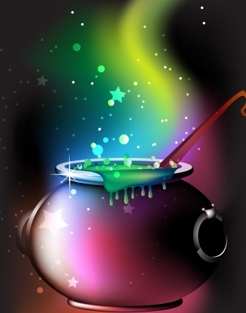 bewitchment: Cauldron  with a boiling magic potion on an abstract mystical background