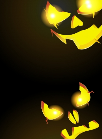 Two pumpkin monster with glowing eyes looking out of the darkness