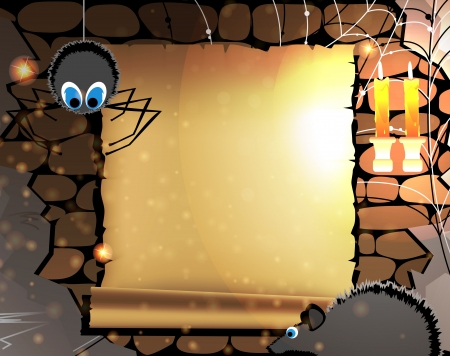 Parchment with place for text  in old dungeon with a spider and a rat  Vector