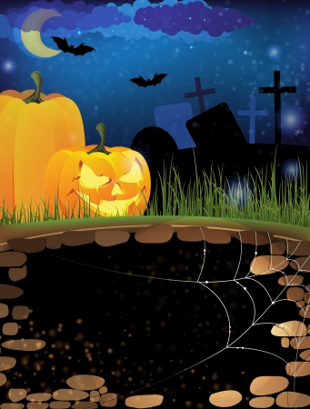 Scary pumpkin heads on a night cemetery  Abstract Halloween  background Stock Vector - 15922614