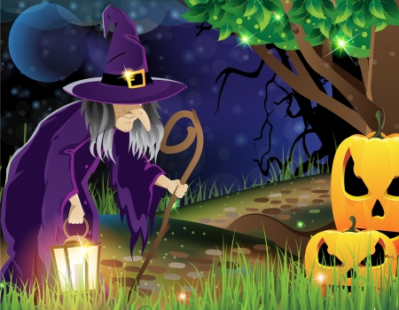 walking path: Wicked witch with a lantern walking along a forest path and the two smiling pumpkin head