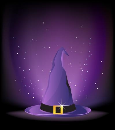 czarownica: Kapelusz Czarownica z klamrą złota na purpurowym tle świetlnego Ilustracja