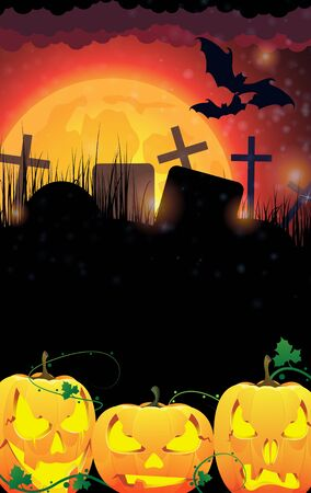 Three pumpkin monsters and a cemetery on a full moon background Stock Vector - 15922604