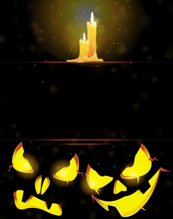 Two pumpkin monsters with glowing eyes and burning candles on a dark background Vector