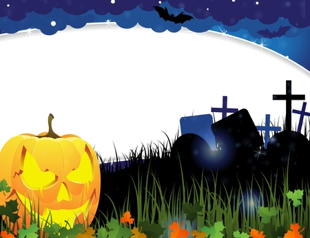 Jack o Lantern and autumn leaves on a night cemetery  Abstract Halloween  background Stock Vector - 15922618