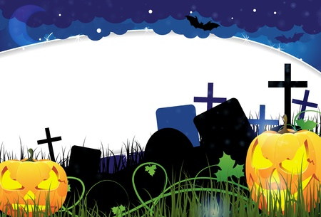 Grinning Jack o Lanterns with glowing eyes on a night cemetery  Abstract Halloween  background Stock Vector - 15922601
