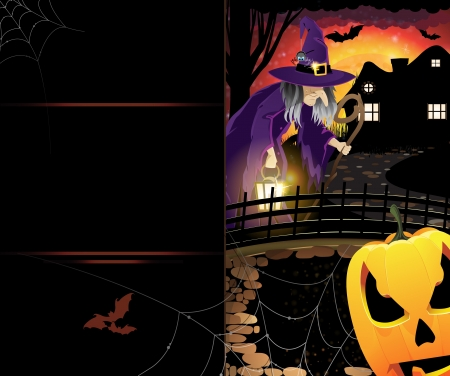 gourds: Pumpkin monster and old witch with a lantern near the house with glowing windows  Abstract Halloween card with place for text