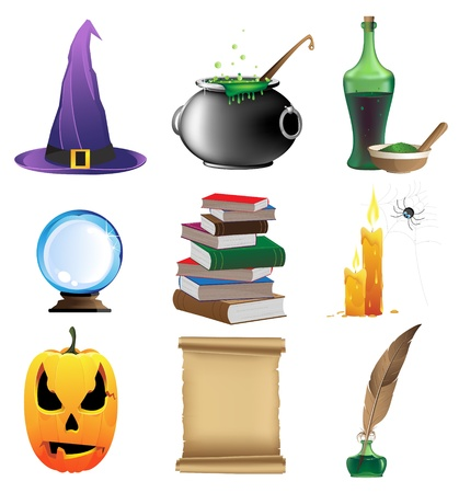 paper spell: Halloween set of witchcraft tools  Nine magic icons on white background Illustration