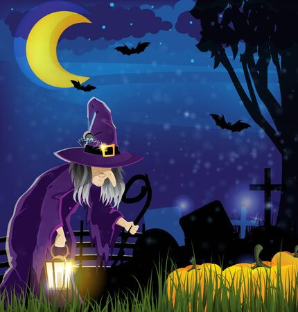 Wicked witch with a lantern and  pile of pumpkins on a  night cemetery Stock Vector - 15922586