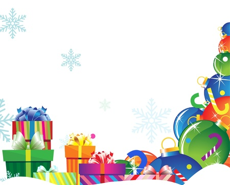 Pile of gifts and Christmas decorations on a white background Stock Vector - 15922603