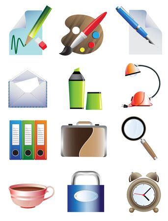 Set of bright office icons on a white background Vector