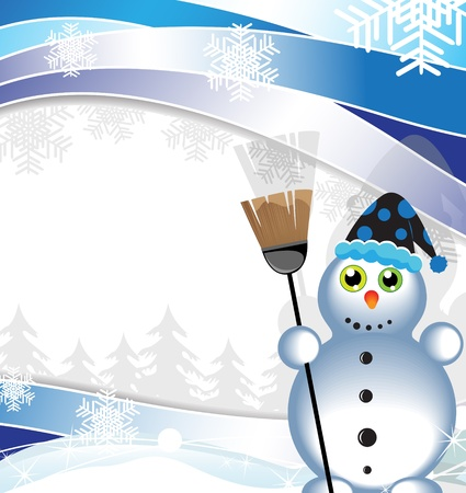 Snowman with a broom on a winter background