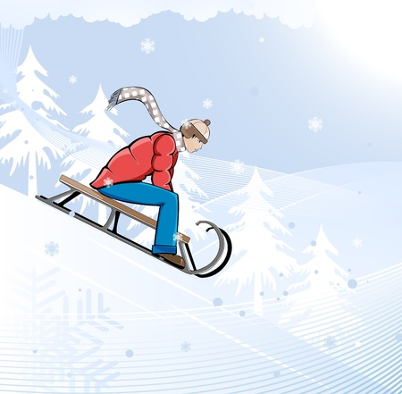 Boy sledding  Winter entertainments   Vector